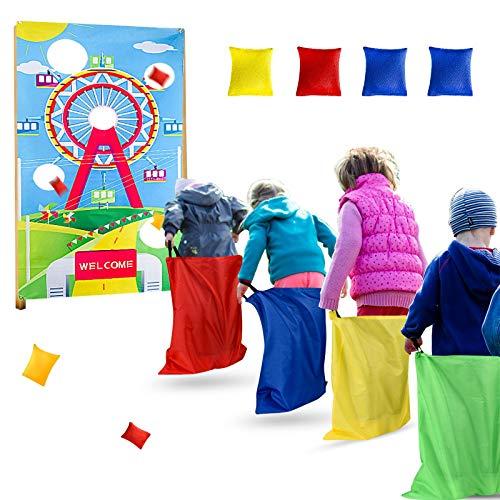 Irich Jeu de jeu de lancer avec bannière - Jeu de carnaval amusant avec 4 poufs et sacs de course - Jeu d'extérieur pour enfants