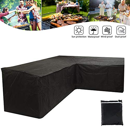 You's Auto 210D Black L Shape Cover Patio Sofa Furniture Couch Cover Waterproof Dustproof Polyester Garden Corner Sofa Couch Protector Cover with Storage Bag 215X215X87CM