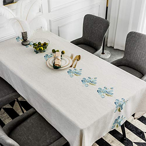 Blue Peach blossom Rectangle Tablecloth, Polyester and Linen Blended Embroidered Table Cover for Home Decor Party Wedding Outdoor (Beige),90x90cm(35.4 * 35.4in)