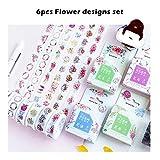HAOXUE 6Pcs Secret Forest Paper Washi Tape Set Vintage Flower Garden Decoración Adhesivo Cintas De Enmascaramiento Pegatinas Para Álbum Diario A6896