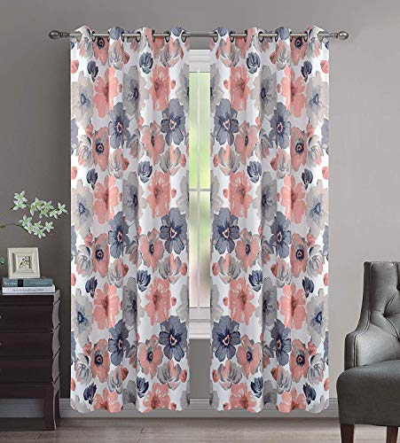 "Set of 2 Grommet Floral 52"" W x 63"" L (104"" Total Width) Decorative Window Curtain Panels, White/Pink/Black/Gray Room Darkening Soft and Heavy Panels for Living Room/Bedroom, Lily 63"" Coral"