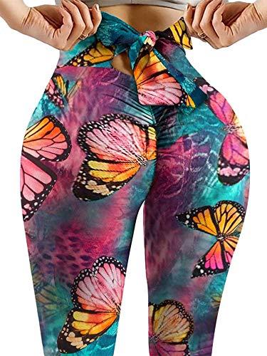 Chunxiao Pantalones de yoga de cintura alta para mujer, patrones de impresión de teñido anudado, leggings para correr, levantamiento de glúteos con cordones