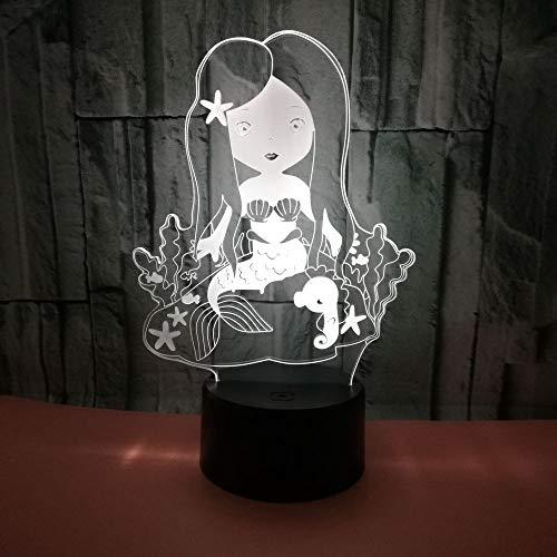 3D Veilleuse Enfant LED Lampe de Chevet Optiques Illusions Lampe de Nuit 7 Couleurs Ajustables Câble USB Cadeau Jouets (Sirène),Interrupteur Tactile