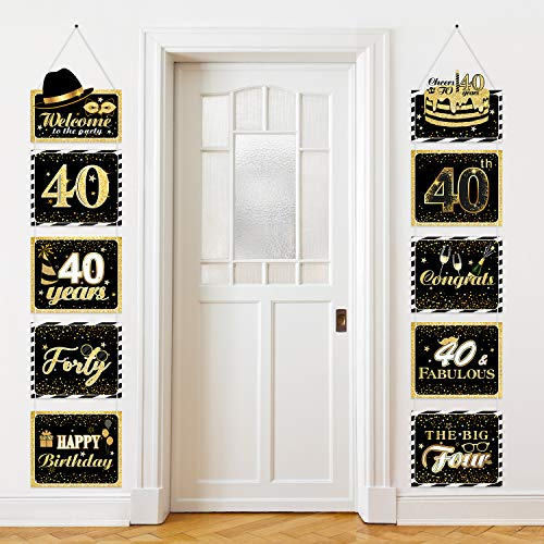 Große Happy Birthday Zeichen Ausschnitte Banner Geburtstag Jubiläum Dekoration Party Lieferung Türschild Geburtstag Thema Party Wand Dekoration Zeichen 10 Zählt (40 Jahre)