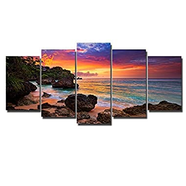 PIY Canvas Wall Art for Living Room, Beautiful Beach Sunset Picture Canvas Prints (Multi, 5 Panels)