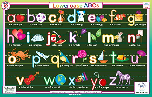 Tot Talk Lowercase ABC Educational Placemat for Kids, Washable and Long-Lasting, Double-Sided, Made in The USA