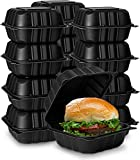 Eco-Friendly Meal Prep Containers [50-Pack 6x6x3'] Black Disposable to go Clamshell Food Containers with Secure Snap Hinged Lid, Microwave Safe Take Out Lunch Boxes, Made from Renewable Materials