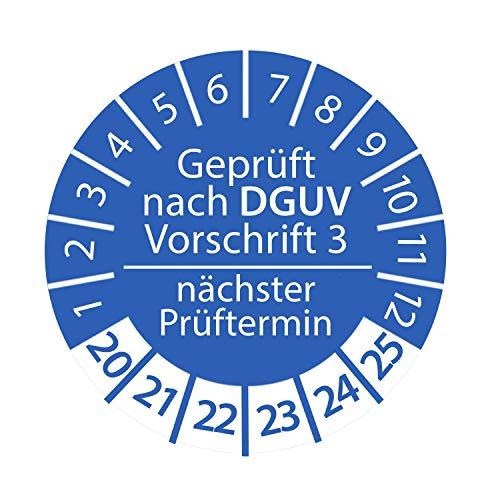 Prüfplakette DGUV Vorschrift 3 2020-2025 nächster Prüftermin 3cm rund Geprüft nach DGUV Blau Größe 250 Stk