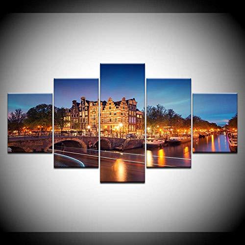 Canvas HD Prints Schilderijen Wooncultuur 5 Stuks Amsterdam stad gebouw nacht landschap poster modulaire afbeeldingen muurkunst 40x60cmx2 40x80cmx2 40x100cmx1 Frame