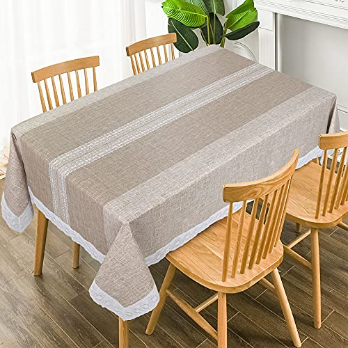 Vinyl Tablecloth with Flannel Backing,Plastic Waterproof Rectangle Tablecloths,Wipeable Table Cloth for Garden Kitchen Indoor & Outdoor, Washable PVC Table Cover(Brown Stripes,58 x 104 Inch)