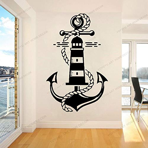 Dwzfme Adhesivos Pared Pegatinas de Pared Decoración del hogar del Vinilo del Faro del Ancla Marina náutica para el Arte extraíble de la Sala de Estar 57x89cm