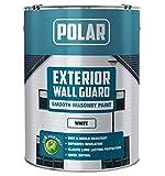 Polar Premium Smooth White Wallguard Masonry Paint - 5 Litre, Waterproof Exterior Wall Paint, Long Lasting High-Performance Coating