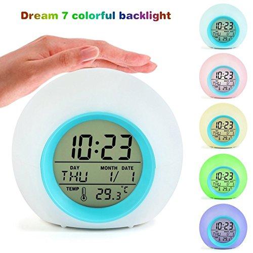 ESHOO Kinderuhren, Digital-Wecker 7 Farben, die Natur-Töne ändern EIN Hahn-Steuerung Schlaf-freundlich mit Innentemperaturanzeige für Kinder, Kinder, berufstätige Eltern, Kursteilnehmer, Reisender