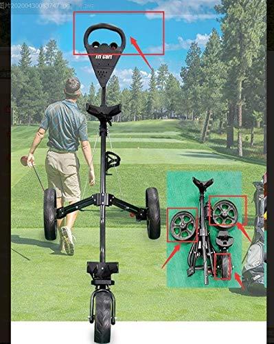 Celiy_Ship from US Warehouse New Foldable 3 Wheel Golf Pull Push Cart Trolley Scorecard Drink Holder