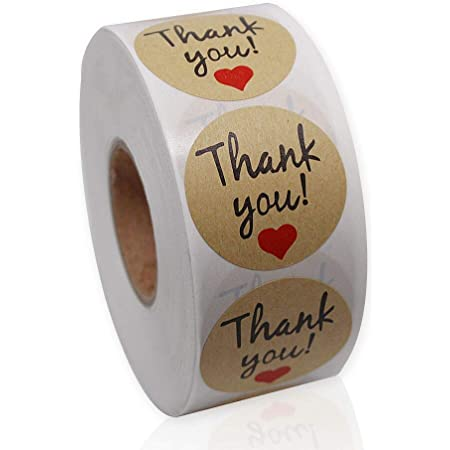 Round 1.5 Kraft Paper Stickers Roll of 500, I Love Referrals