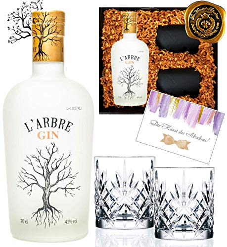 DAS Gin-Geschenk Set L'Arbre limited Edition inkl. 2 geschliffener Gin Tumblern Luxus mit Olivenblättern & Rosmarin in edler Geschenkbox schwarz Sammler-Edition