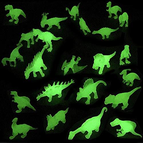 Liberty Imports Dino World Glow in The Dark Miniature Plastic Dinosaur Figures - Mini Toys Jurassic Figurines Assorted Glow Party (Set of 24)