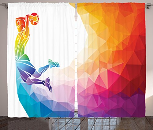 Ambesonne Basketball Curtains, Rainbow Colored Theme with a Basketball Player Sports Man Jumps Scoring Print, Living Room Bedroom Window Drapes 2 Panel Set, 108