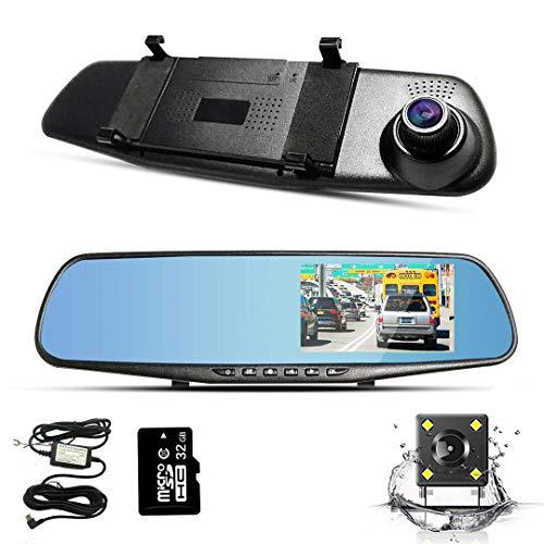 """Spiegel Dashcam, 4.3\"""" Autokamera Video Recorder 1080P Full HD mit 170° Weitwinkelobjektiv, mit 32GB SD Karte, Buck-Linie, Nachtsicht, Loop-Aufnahme und G-Sensor, Parküberwachun"""