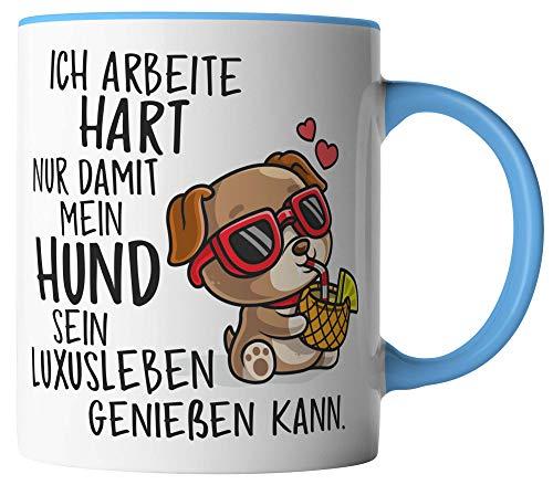 vanVerden Tasse - Ich arbeite hart nur damit mein Hund sein Luxusleben genießen kann - beidseitig Bedruckt - Geschenk Idee Kaffeetassen, Tassenfarbe:Weiß/Blau