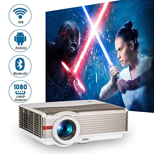 HD Wifi Bluetooth Smart Projector Home Indoor Outdoor Use with Phone Tablet Fire TV Stick DVD Player Laptop USB HDMI, 5000 Lumen Wxga LED LCD Video Projector Support 1080P Ceiling Zoom with Speakers