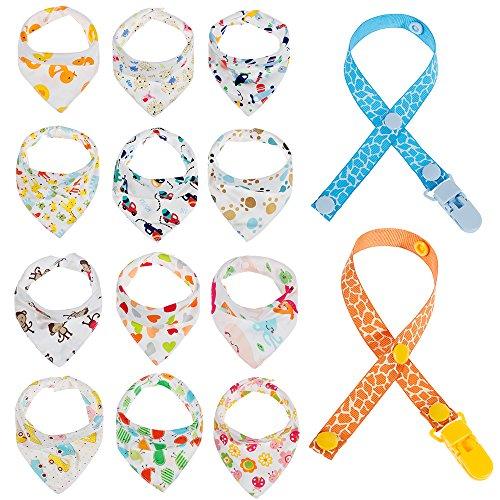 Lictin 12 pcs baberos Bufanda tri/ángulo para beb/és y ni/ños peque/ños con 2 Chupete de cadena clips para 6 meses a 3 a/ños beb/és