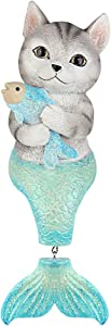Bownew Cat Mermaid Figurines Outdoor Garden Statues Resin Animal Theme Decorations for Home, Bathroom and Patio