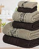 Casabella Valentini Crystel - Juego de 6 toallas de baño (600 g/m², 6 unidades), algodón, Pétalos marrón y beige., 6 Pieces Set