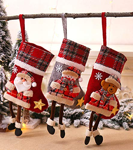 "ZKC Personalized Christmas Stockings, 14"" Stockings with Santa, Snowman and Brown Bear, Handmade, 3D Plush for Christmas Decorations 3pcs"