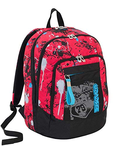 Zaino scuola advanced SEVEN - SPRINKLE - Rosso - 30 LT - supporto USB - FLASHCOLOR FOTOSENSIBILE