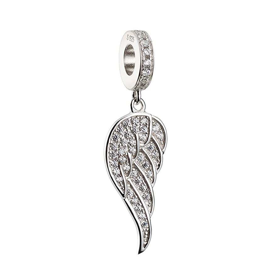 ATHENAIE?925?Silver?Plated?Platinum?with?Pave?Clear CZ?Angle Wing Love&Guidance Pendant?Drops?Charms