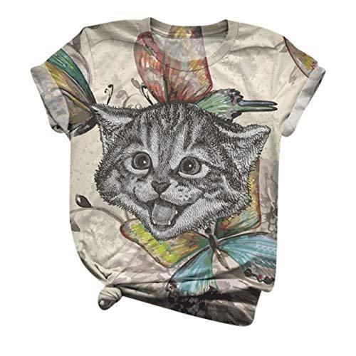 Tops T-Shirt Frauen Kurzarm Ärmel mit Tierdruck O-Ausschnitt Plus Size Bluse (5XL,3Beige)