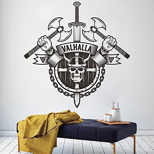 BBZZL Pegatinas de Pared vikingas mitología nórdica Escudo de Arma Pirata Estilo nórdico Puerta de Dormitorio decoración del hogar calcomanía de Vinilo de Vidrio Regalo L 77x77cm