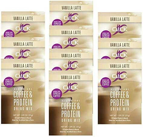 CLICK All in One Protein Coffee Meal Replacement Drink Mix Vanilla Latte 10 Single Serving Packets product image
