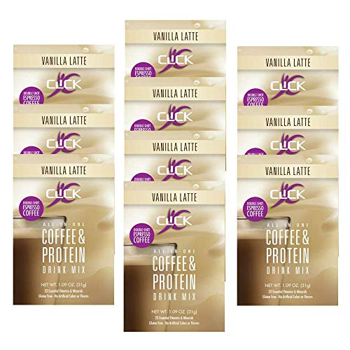CLICK All-in-One Protein & Coffee Meal Replacement Drink Mix, Vanilla Latte, 10 Single Serving Packets (1.1 Ounce) (Vanilla Latte)