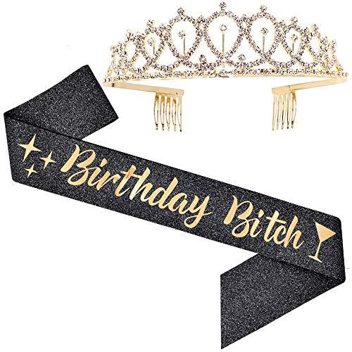 ADBetty Birthday Sash & Rhinestone Tiara Kit - Black Glitter Birthday Sash Birthday Gifts for Women Birthday Party Supplies (Black/Gold)