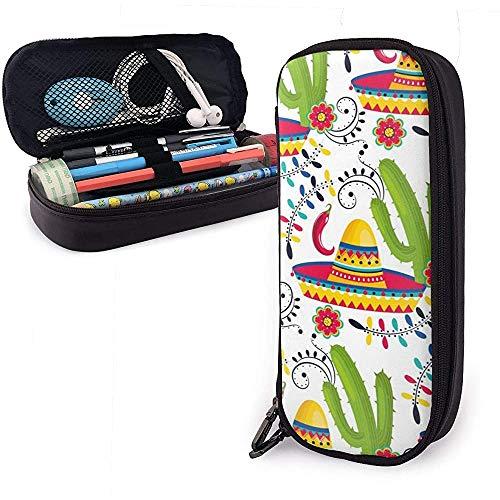 Kaktus Und Farbiger Hut Pu-Federmäppchen Aus Leder, Große Stifttasche, Langlebige Schreibwaren-Organizer Mit Elastischen Gürteln