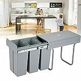Cubo de basura empotrable para cocina, sistema de separación de residuos, 3 x...