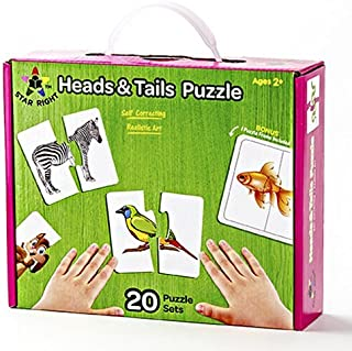 Star Right Self-Correcting Heads & Tails Animal Match Puzzle with Realistic Art, Set of 20 (40 pieces) with 1 Puzzle Frame Included
