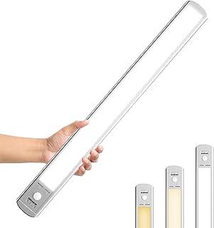 Epicflare Lampe de Placard 126 LED, Veilleuse de Rechargeable par USB, Reglette Led Aimanté Sans Fil, Détecteur de Mouveme...