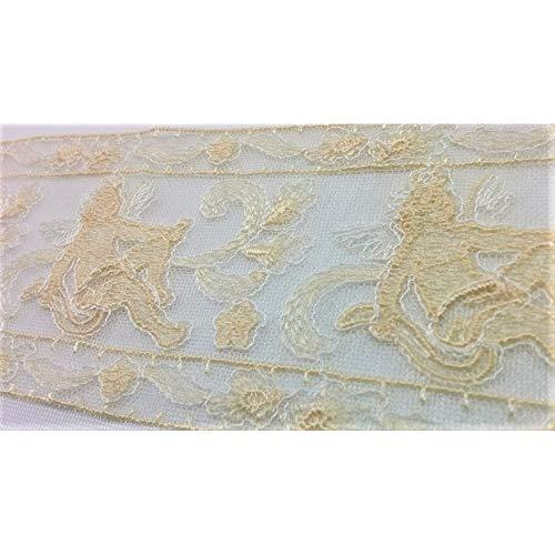 MercERIA lattenbodem, tule, geborduurd, ecru, room engel hoog, 7 cm