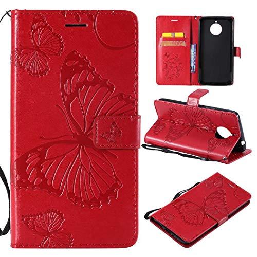Ycloud Portafoglio Custodia per Motorola Moto E4 Plus Smartphone, PU Pelle Magnetica Flip Caso Cover con Fessura Carte e Funzione Staffa Farfalla Rilievo (Rosso)