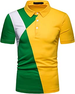 Men's Fashion Younth Contrast Color T-Shirt 3 Button Down Short Sleeve Sport Polo Shirts
