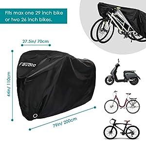 Favoto Funda para Bicicleta Exterior 210D Cubierta Protector Impermeable al Aire Libre contra Lluvia Sol Polvo para Montaña Carretera L Negro