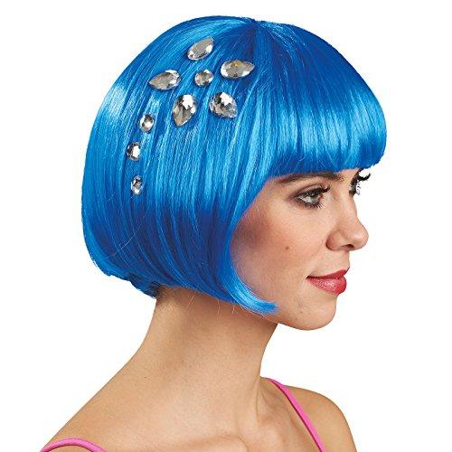 Elbenwald Women Party Wig Bob with Gemstones Blue