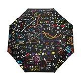 ALAZA Funny Math Doodle Bunte Reise Auto Open/Close Regenschirm mit Anti-UV-windundurchlässigen Leicht