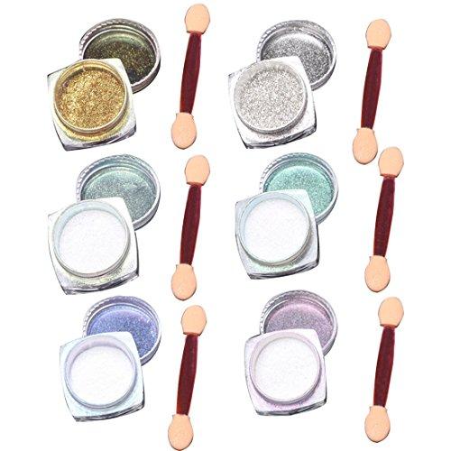 GUAngqi 6 Pcs 1g Nail Art Mirror Glitter Shinning Nail Chrome Pigment Powder Nail Art Tools with Sponge Stick