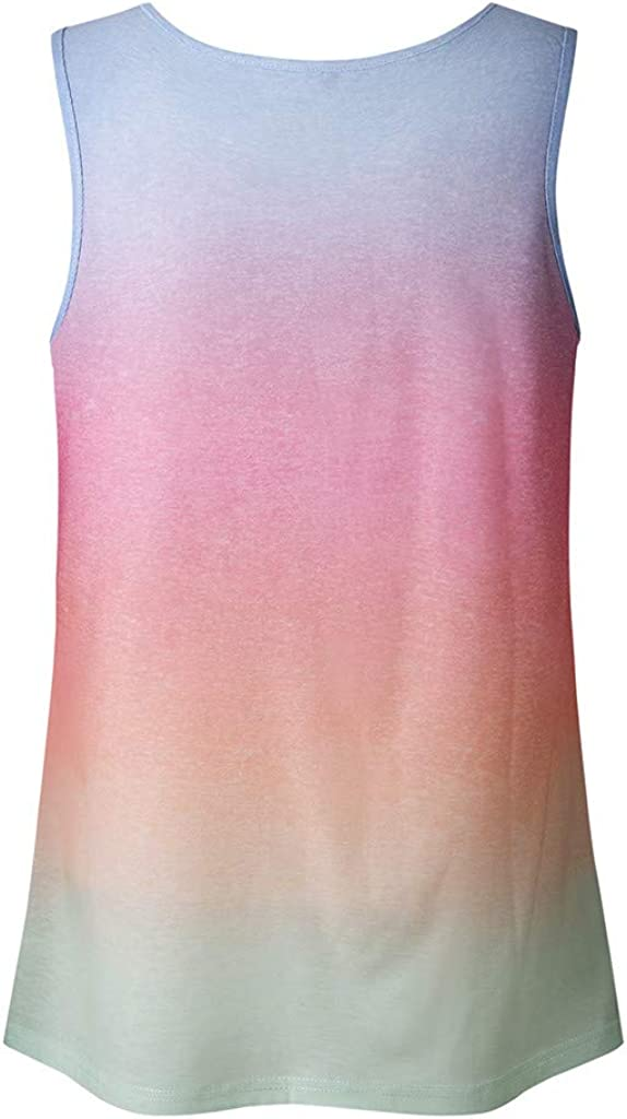 F/_topbu Womens Tank Tops Tie Dye Gradient Printed Sleeveless Blouses Summer Casual Shirts Loose Fit Vest Top