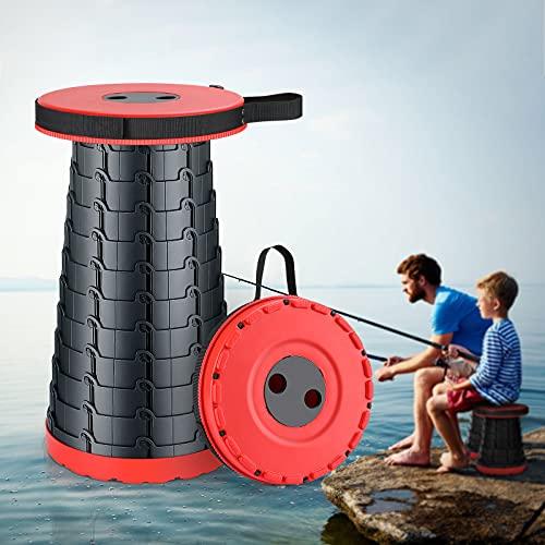 KINLO Camping Hocker Tragbarer Klapphocker Teleskophocker Mini Outdoor Höhenverstellbarer für Erwachsene und Kinder Innenbereich Camping Angeln Wandern Grillen(Belastung 225kg,Rot schwarz)