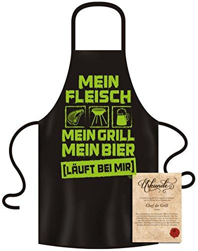 Grillschürze Motiv - Mein Fleisch - Mein Grill - Mein Bier - Die Schürze mit dem Reim und dem coolen Design - Geschenk zu Weihnachten Männer und Frauen